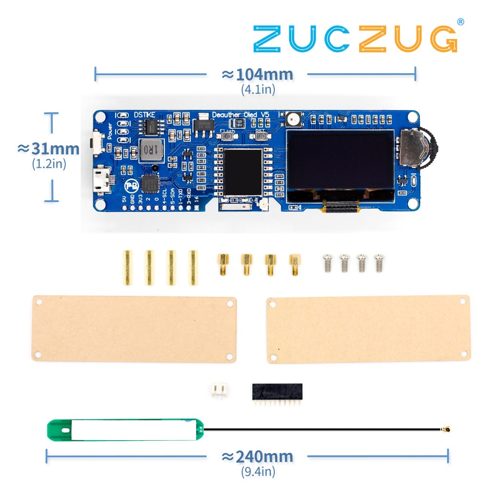 Active Components Electronic Components & Supplies Dstike Wifi Deauther Oled V5 Wifi Attack/control/test Tool Esp8266 1.3oled 8db Antenna 18650 Battery Charger Rgb Led No Pb Commodities Are Available Without Restriction