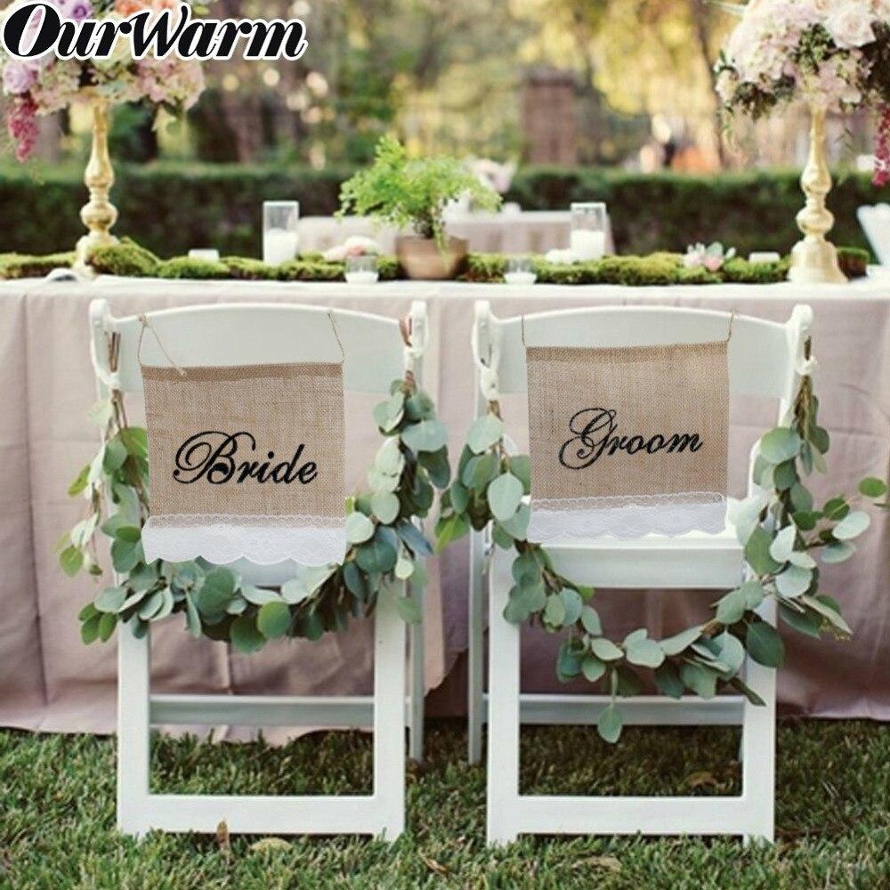 OurWarm Wedding Chair Banner Sash Sign Set BRIDE GROOM Mr & Mrs Rustic Wedding Engagement Anniversary Decor Photography Props