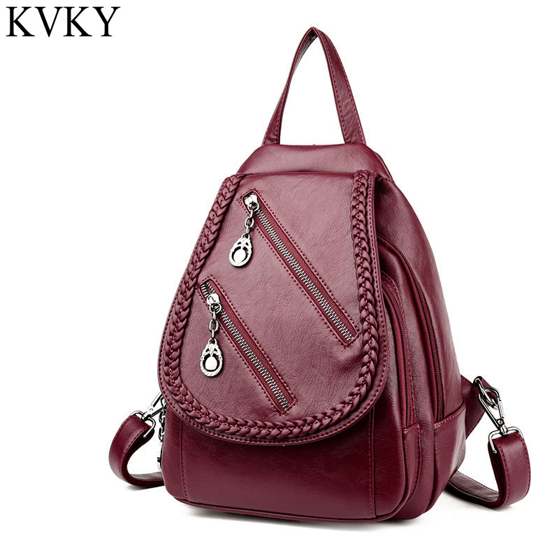 New Women Solid Fashion School Bags For Girls Pu Leather Daily Backpacks Mujer Multifunction Travel Bag Shoulder Zipper Bag