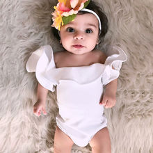 Baby Girl Bodysuits Newborn Infant Baby Girls Ruffles Sleeve Bodysuit Solid Playsuit Clothes Outfits Sweet Princess(China)