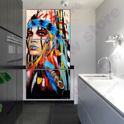 Beauty Native American Indian Feathered Girl Artwork Woman Portrait Painting Canvas Print for Living Room Wall Art Drop Shipping