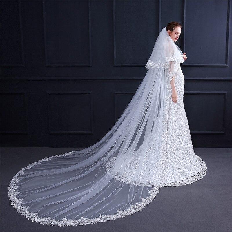 H & S mariée blanc long voile cathédrale longueur dentelle bord mariée tête voiles avec peigne accessoires de mariage velos de novia