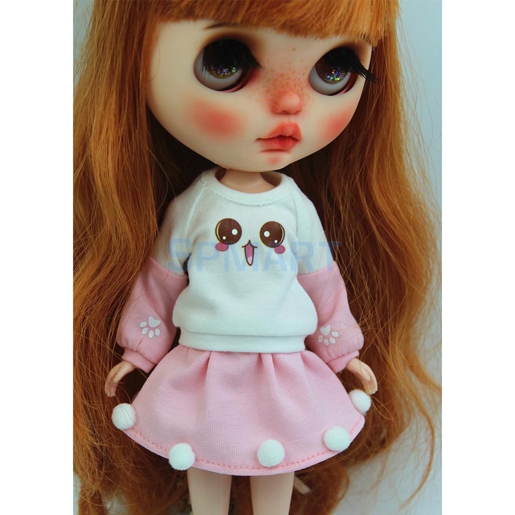 MagiDeal Doll Outfit Long Pullover Tops For 1//6 Blythe Doll Light Pink
