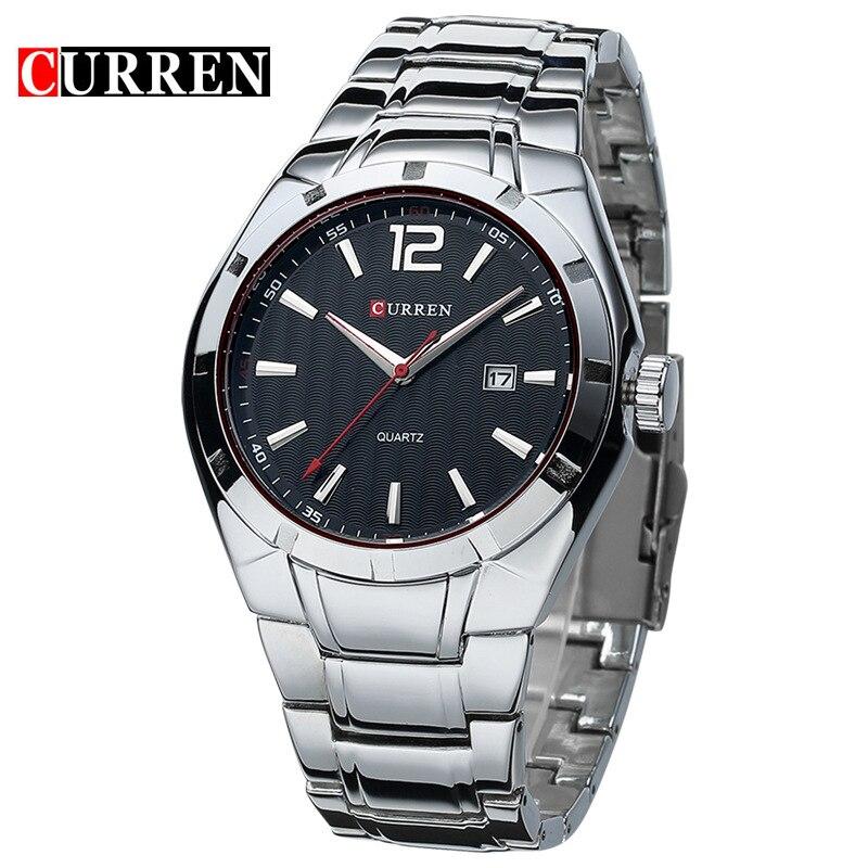 2019 Curren Men Luxury Brand Sport Watches Water Quartz Hours Date Hand Clock Men Full Stainless Steel Wrist Watch Relogio