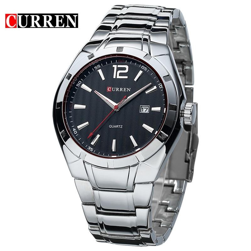 2019 Curren hommes de luxe marque Sport montres eau Quartz heures Date main horloge hommes plein acier inoxydable montre-bracelet relogio