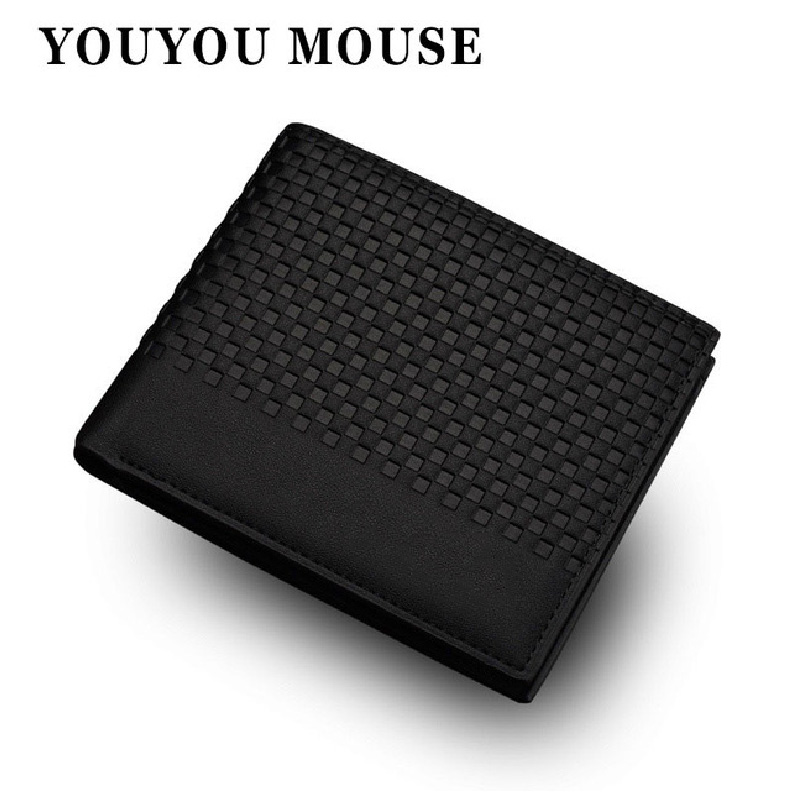YOUYOU MOUSE PU Leather Wallet Mens Casual Top Quality Wallets Plaid Small Designer Purse Clutch Fashion Carteira Card Holder free shipping big discount rbl 331 diy nude blyth doll birthday gift for girl 4colour big eye doll with beautiful hair cute toy