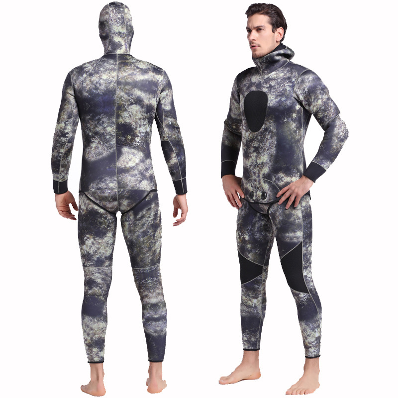 Man Spearfishing Camouflage Wetsuits 3mm Neoprene 2-Pieces Hoodie Snorkeling Full Scuba Diving Suits Man Spearfishing Camouflage Wetsuits 3mm Neoprene 2-Pieces Hoodie Snorkeling Full Scuba Diving Suits