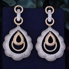 GODKI 63mm Luxury Trendy Water Drop Geometry Full Mirco Cubic Zirconia Setting Naija Wedding Women Earring Fashion Jewelry