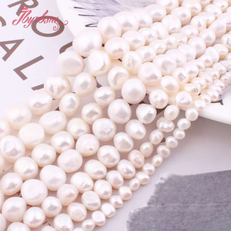 7--8//8-9//9-10mm Natural White Baroque Freshwater Cultured Pearl Loose Beads 14/'/'