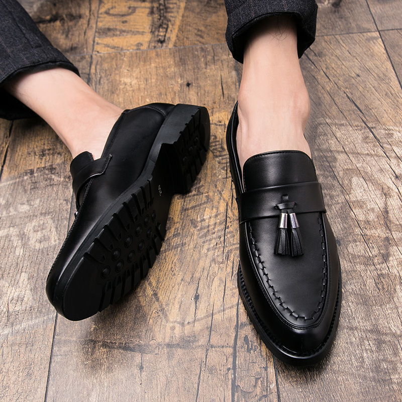 mens slip on tassel formal leather dress shoes luxury brand pointed toe ballet flats male italian elegant business oxford shoes  (7)