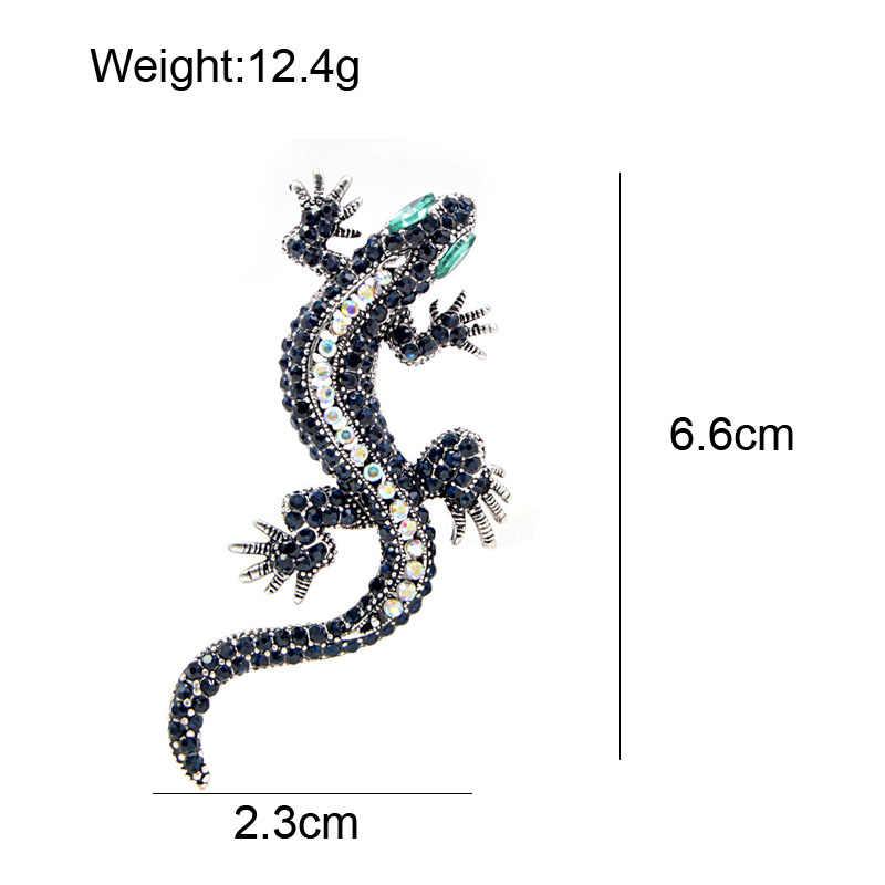 Cindy Xiang Berlian Imitasi Kadal Bros Biru Tua Warna Tubuh Hijau Mata Gecko Bros Fashion Perhiasan Hewan Gaya Vintage Pin Hadiah
