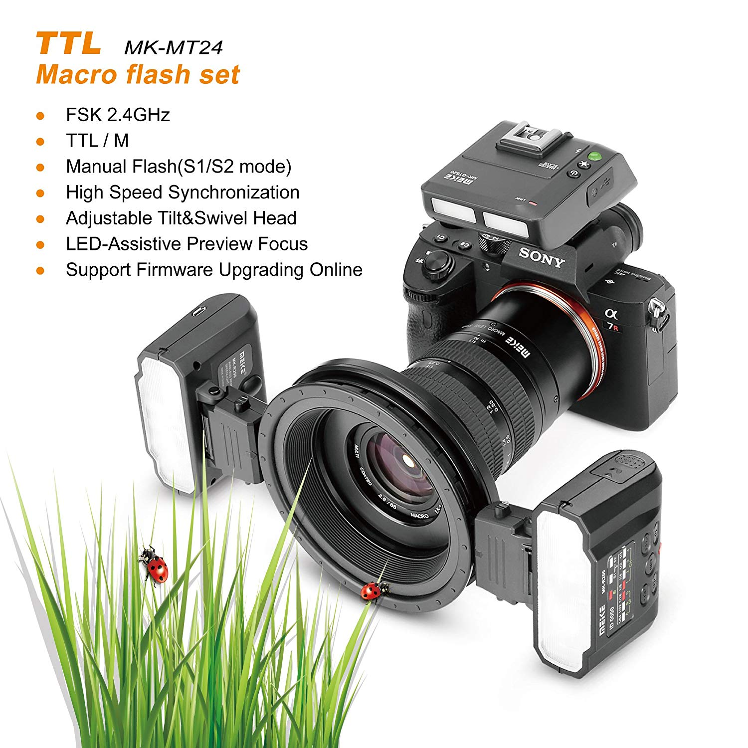 US $299 0 15% OFF Meike MK MT24S Macro Twin Lite Flash Light for Sony A9  A7III A7RIII and other MI Hot Shoe Mount Mirrorless Cameras Free  Shipping-in
