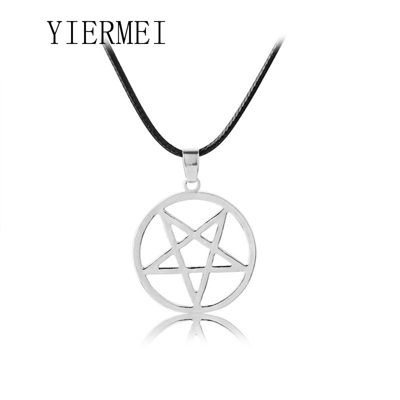 Black Butler necklace Pentacle pentagram pendant Lucifer Satan logo sign silver Supernatural jewelry for men and women wholesal