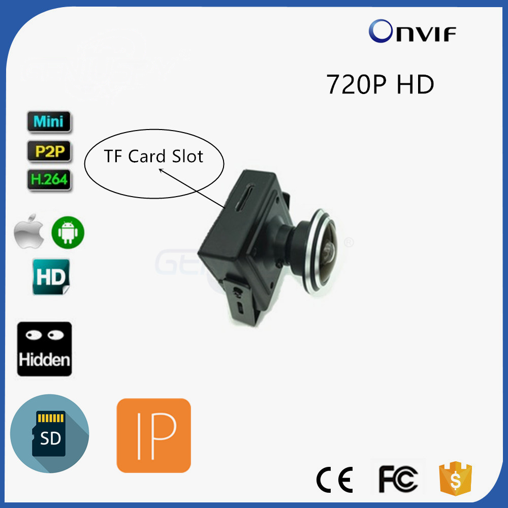 P2P Onvif 720P HD TF Card Recording Mini IP Camera Wide Angle For Home Security Indoor 1.78mm Fisheye Lens