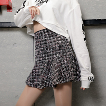 Plaid Wool Tweed Skirts Women Autumn Winter Mini Pencil OL Mermaid Korean High Waist Elegant Skirt Lady