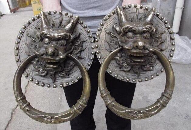Tibet cuivre Bronze tête de Dragon palais gardien porte poignée heurtoir statue paire cuivre jardin