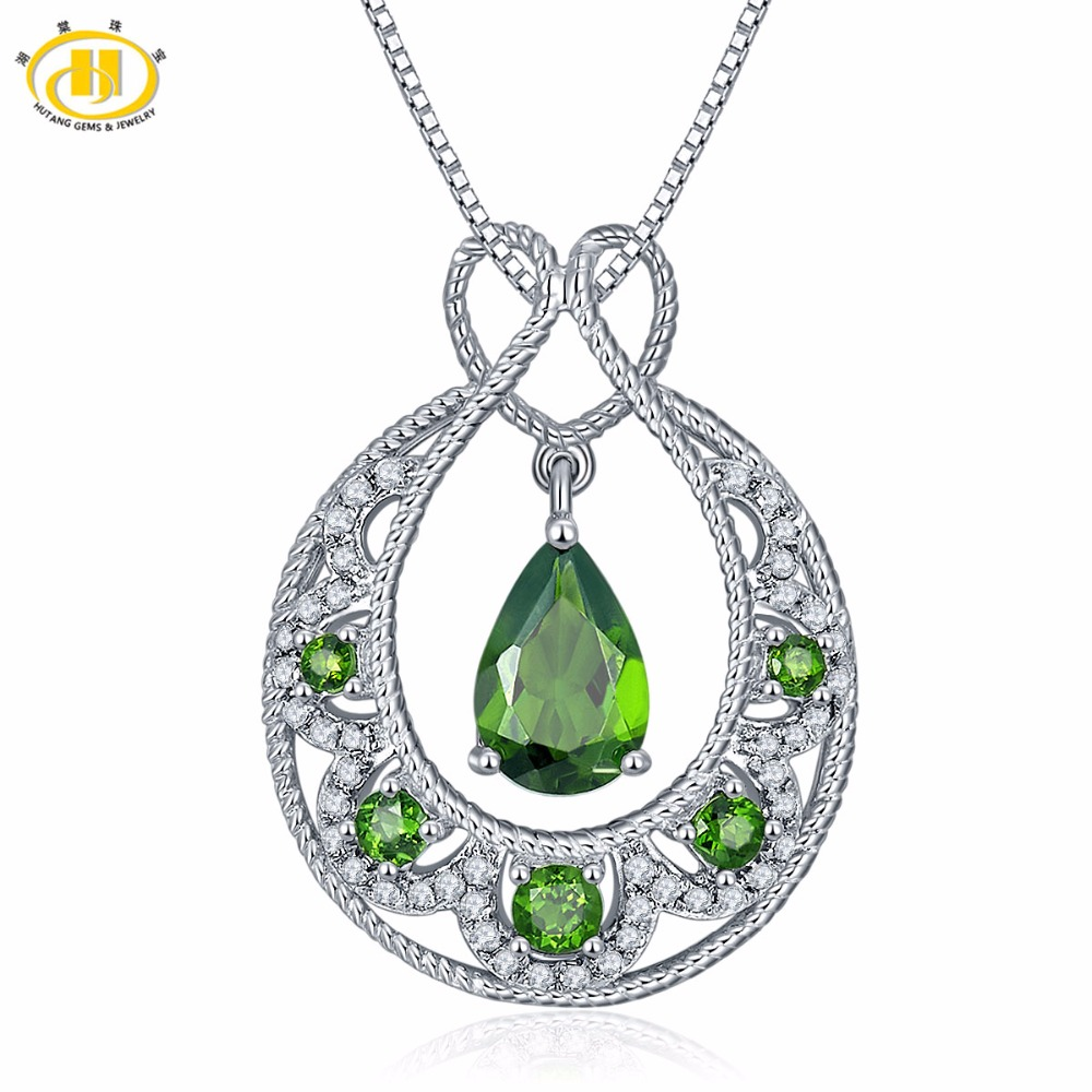 Hutang Solid 925 Sterling Silver 1.71ct Natural Gemstone Chrome Diopside & Topaz Pendant & Necklace Fine Jewelry For Women