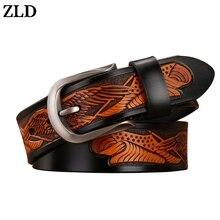 ZLD new genuine leather belts for men high quality belt pin buckle punk handcrafted eagle shells vintage cowboy waist strap jean