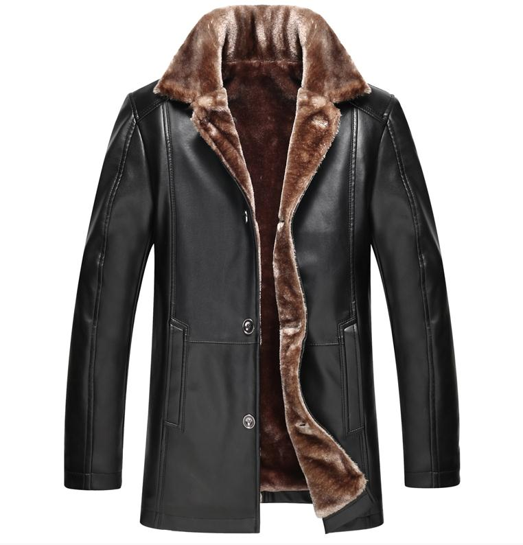 Freeshipping Hot Sale Winter Thick Leather Garment Casual Flocking Leather Jacket font b Men s b