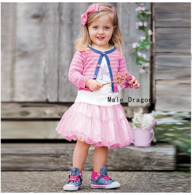 Retail spring summer autumn new girl skirt suit (jacket + T-shirt + shorts) free shipping in stock