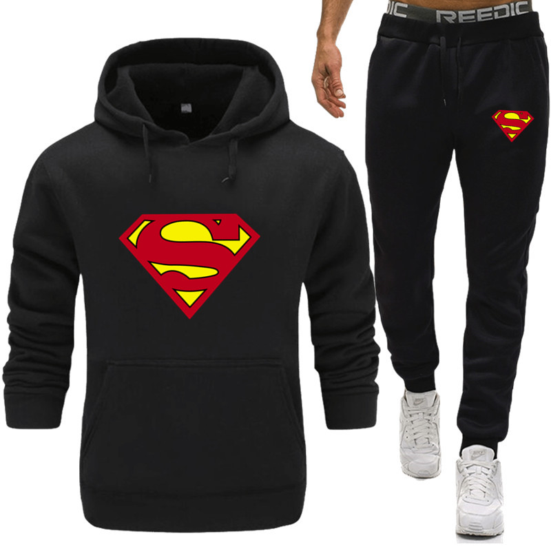 Superman Men Tracksuits With Pants New Gyms Set Thicken Fleece Male Autumn Two Piece Clothing Casual Track Suit Sportswear Sweat