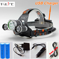 USB Headlamp 12000Lm CREE XML T6+2R5 LED Headlight Lamp Light Torch Camping Fishing+2x 18650 Battery+Car EU/US Charger USB