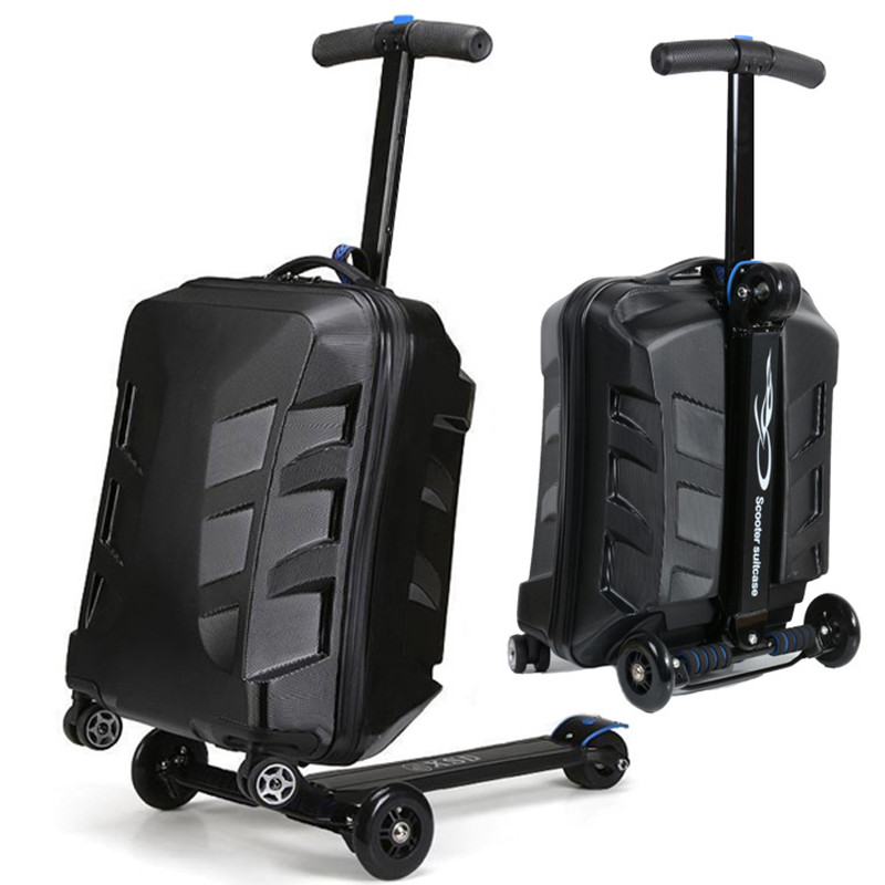 100% PC fashion 20 inch students scooter trolley suitcase/boy cool 3D cover extrusion business trip child luggage children gift 21 inch students scooter suitcase boy cool trolley case 3d extrusion high quality pc separable travel luggage child boarding box
