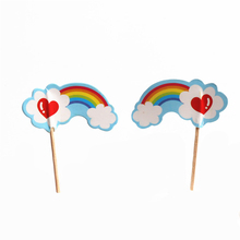 48pcs/lot Rainbow Cupcake Ice Cream Cake Toppers Colorful Love Heart Cloud Topper Wedding Children Birthday Party Supply