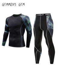 Mens Tights Set Runnign Compression T-Shirt Pants Skin-Tight Long Sleeves Fitness Rashguard MMA Training Clothes Gym Yoga Suits