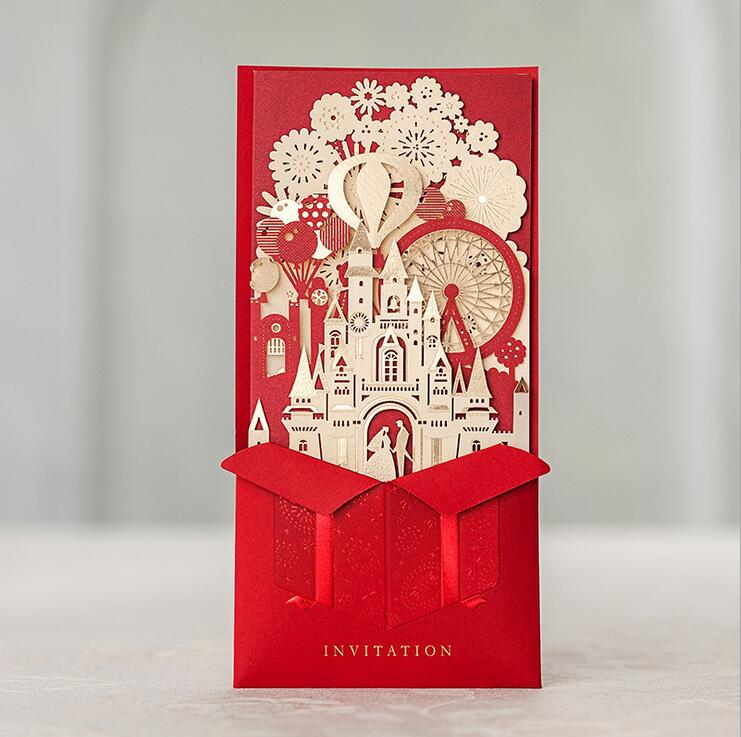 Wishmade 3D Red Wedding Invitations Laser Cutting With Bride and Groom Castle Marriage Wedding Cards CW5073