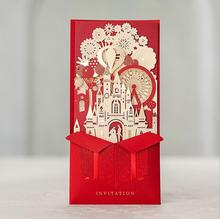 Wishmade 3D Red Wedding Invitations Laser Cutting With Bride and Groom Castle Marriage Cards CW5073