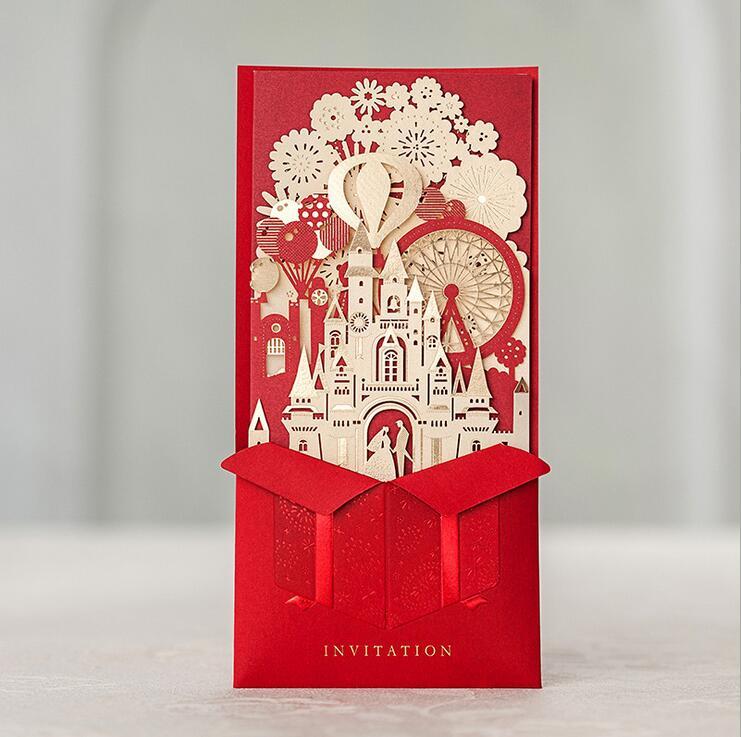 Wishmade 3D Rosso Inviti di Nozze Carte di Taglio Laser Con La Sposa e Lo Sposo Castello di Nozze del Matrimonio CW5073-in Biglietti e inviti da Casa e giardino su  Gruppo 1