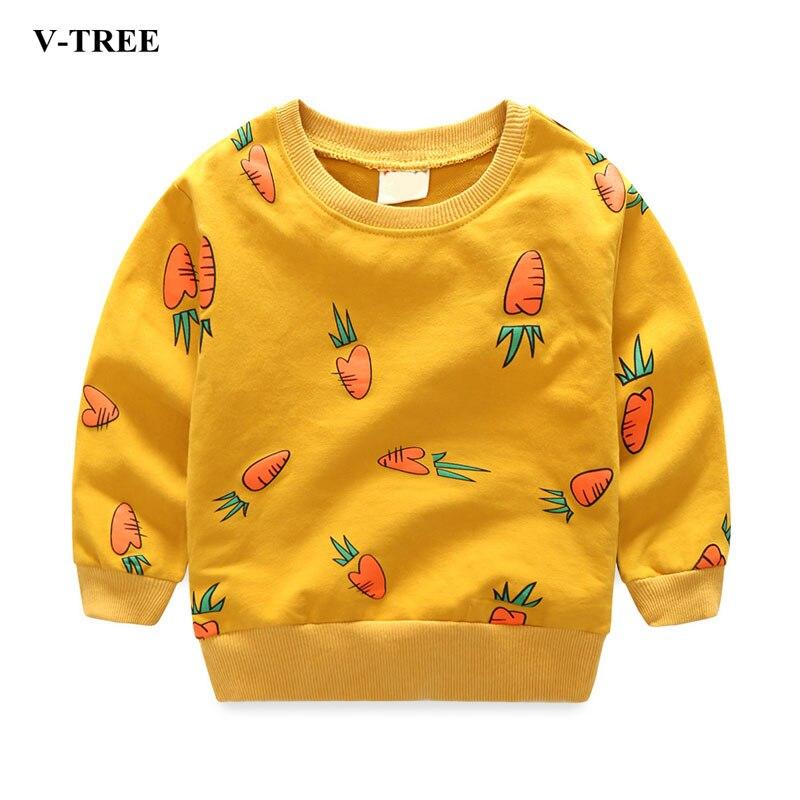 V-TREE Girls T Shirt Long Sleeve T-shirts For Boys 2017 Autumn Boy Sweatshirt Children Tops School Kids Blouse Baby Clothes