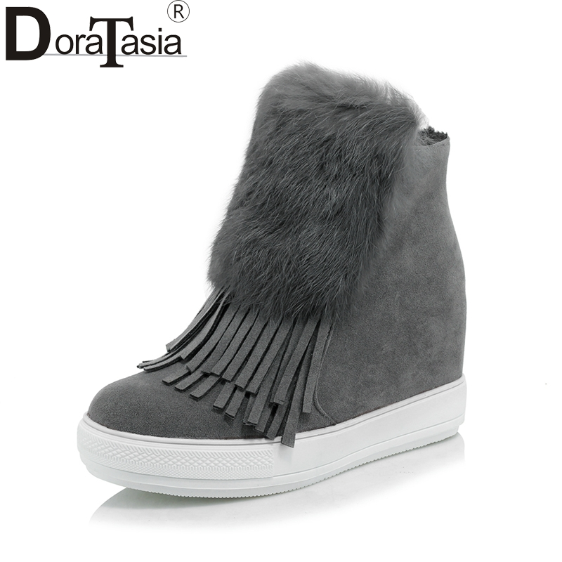 DoraTasia large Size 32-45 Women Ankle Boots Fringe Round Toe With Fur Platform Shoes Woman Hidden Wedge high heels Winter Boots enmayer shoes woman supper high heels ankle boots for women winter boots plus size 35 46 zippers motorcycle boots round toe