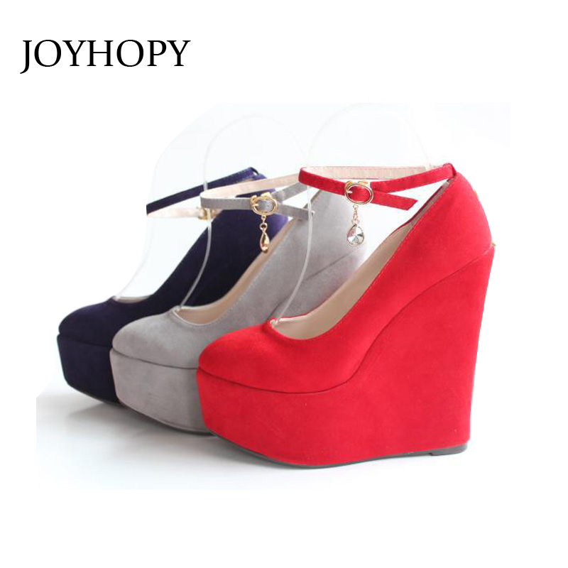 2015 New Sexy Women Fashion Buckle Shoes Vogue Wedges 4 color Wedding Party High Heels Platform
