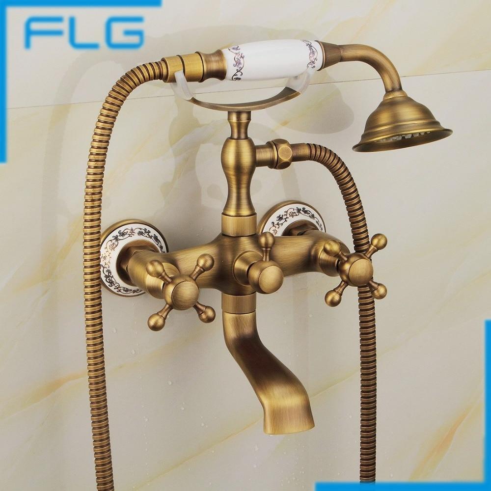 Antique Bathtub Faucet Brass Hot and Cold Bath Faucet Antique Bathroom Faucets Rain Shower Set Bathroom Fixture