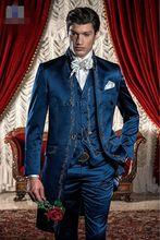 Klassischen Stil Stickerei Bräutigam Smoking Groomsmen Mens Hochzeit Anzüge Prom Kleid (Jacke + Pants + Weste) NO: 265