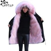 UHYTGF зимняя лиса шерсть енота теплая парка женский меховой воротник теплый жакет с капюшоном пальто высокого качества искусственный мех вет