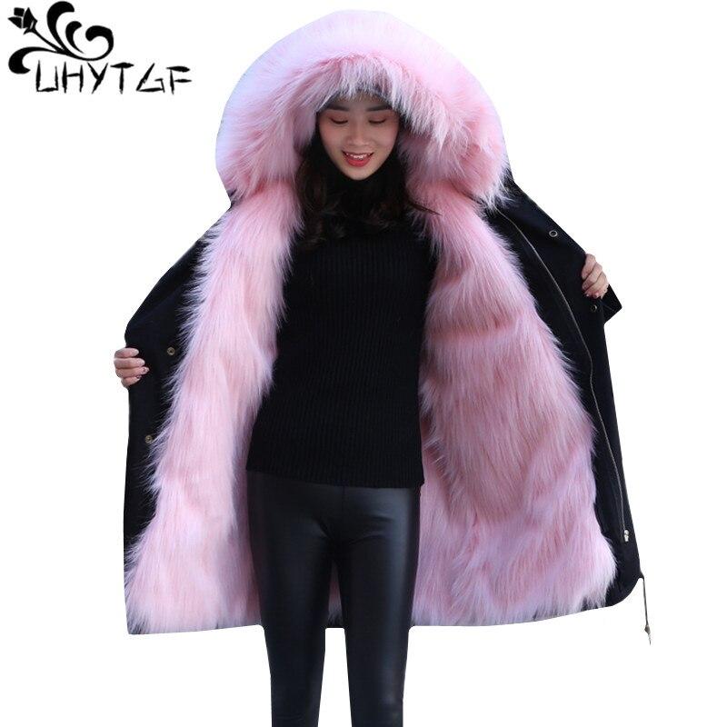 UHYTGF Winter Fox raccoon hair Liner parka Women Fur collar hooded Jacket Warm coats High quality Faux fur Windbreaker Coat 942