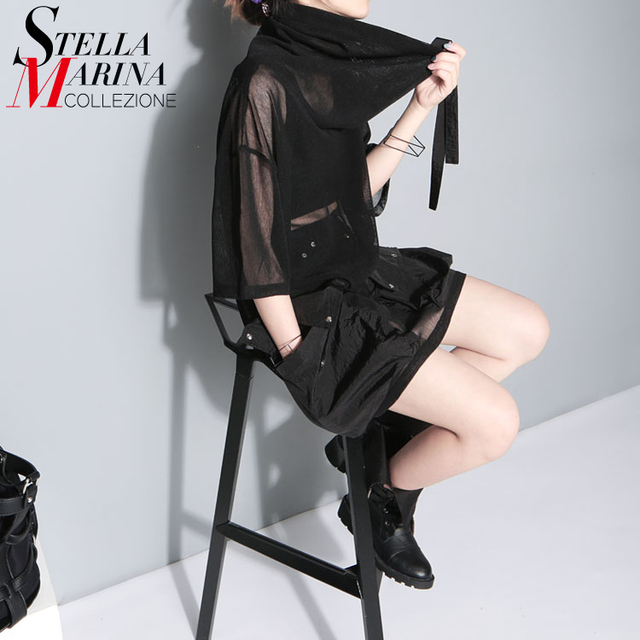 De las Nuevas mujeres 2016 Summer Fashion Tops Con Capucha Cuello Media Manga Bolsillos de malla Señora Inconformista Negro Camiseta femme Harajuku T-shirt 1549