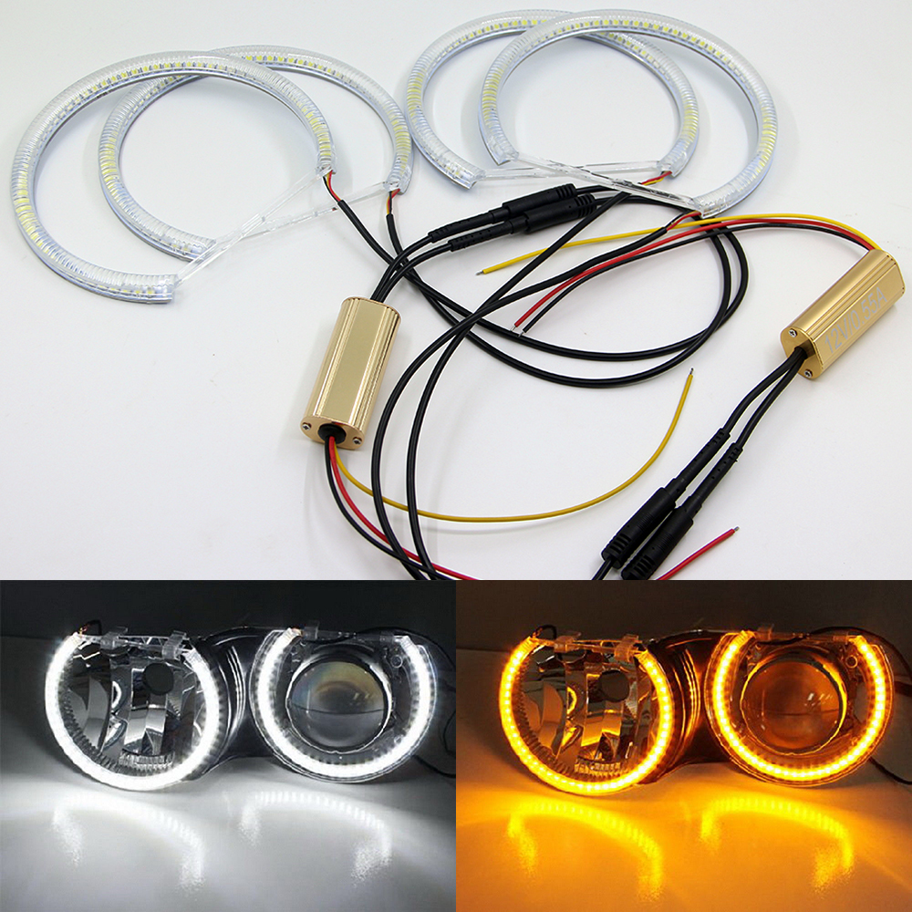 Switchback Dual Color LED Angel Eye Halo Rings For BMW E36 E38 E39 E46 Projector 3