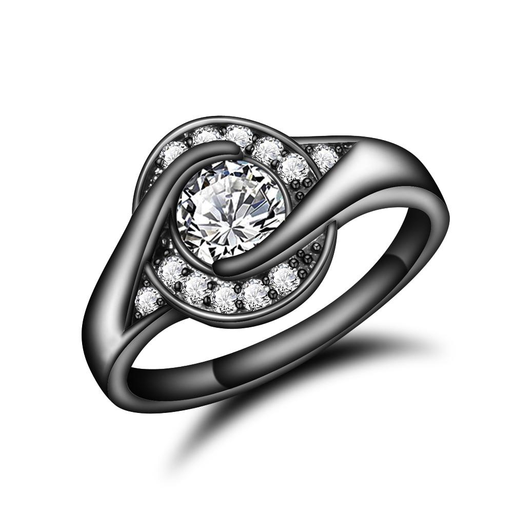 Обручальные кольца черный покрытием Вечность палец Кольца для Для женщин Круглый Круг создан фиолетовый циркония CZ обещание Кольца