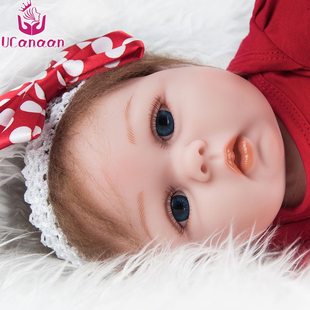 UCanaan 22''/ 55CM Soft Cloth Body Silicone Reborn Doll Kawaii Girls Doll Blue Eyes Baby Born Lifelike Kids Toys Chirstmas Gifts ucanaan 20 50cm reborn doll hair rooted realistic baby born dolls soft silicone lifelike newborn toys for girls xmas kids gift