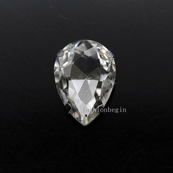 Все размеры слеза 24-Цвет стекло камень Пришить с украшением в виде кристаллов Стразы diamantes для шитья серебряной оправе в виде когтя для рукоделия Костюмы аксессуары - Цвет: clear