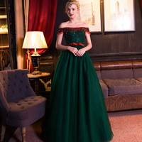 Blackish Green Evening Dress Crystal Appliques Floor length Skirt Off the Shoulder Sleeveless Ball Gown for Formal Party Dress