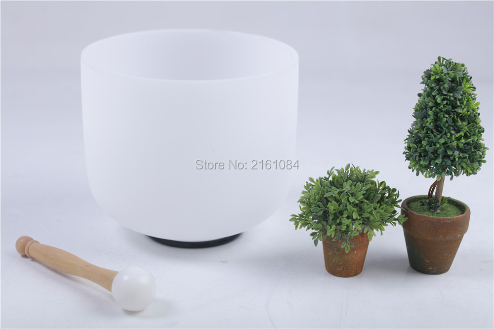 ФОТО NEW FROSTED QUARTZ CRYSTAL SINGING BOWL 13'' C MUSICAL ROOT CHAKRA with free suede and o-ring