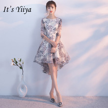Cocktail-Dress Tea-Length Party-Gown Half-Sleevelss Elegant New Yiiya Embroidery It's