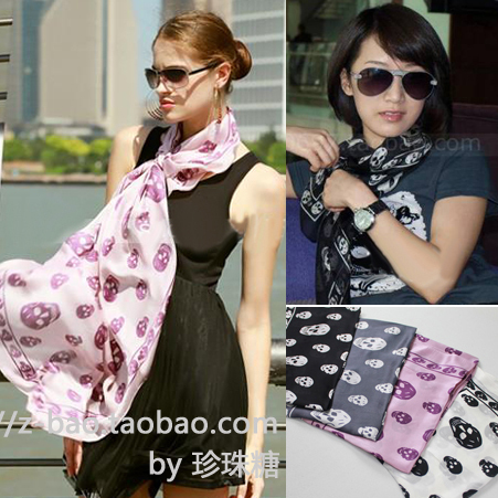 End of a single mcqueen skull silk scarf silk georgette satin large facecloth autumn and winter scarf