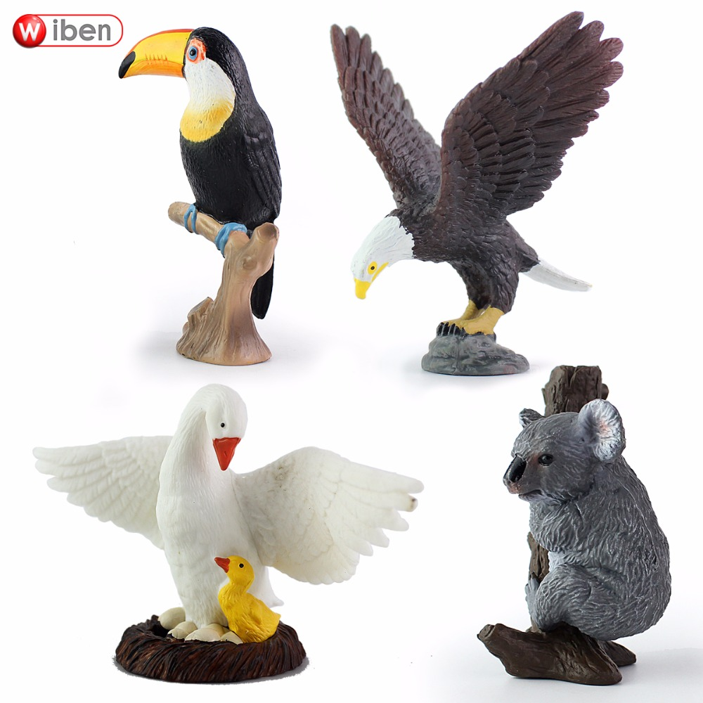 Wiben Eagle Swan Koala Bear Toco Toucan Solid PVC  Simulation Animal Model Action & Toy Figures Educational for Boys Gift wiben animal hand puppet action