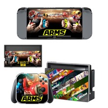Game ARMS Decal Vinyl Skin Protector Sticker for Nintendo Switch NS Console + Controller + Stand Holder Protective Film